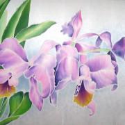 шёлковое панно выполненное в технике холодного батика Орхидеи
