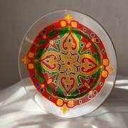 роспись по стеклу восточная тарелка