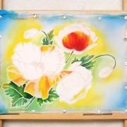 холодный батик, батик, ручное крашение ткани, окраска ткани, 100% хлопок, урок, мастер-класс, панно, платок, роспись платка, роспись панно, резерв, окраска, batik, batic, маки, мак, цветы, батик цветы, маки батик