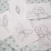Эскизы ирисов для росписи ткани в технике холодный батик