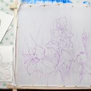 Рисунок ирисов целиком на ткани готовы для росписи в технике холодный батик