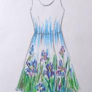 Эскиз росписи платья холодный батик