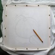 эскиз тыквы, ткань 100% хлопок, вода, воск, рама для батика, кнопки, карандаш,