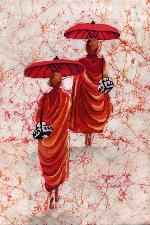 буддийские монахи горячий батик, ламы батик, буддийские монахи картина, картинка буддийские монахи,