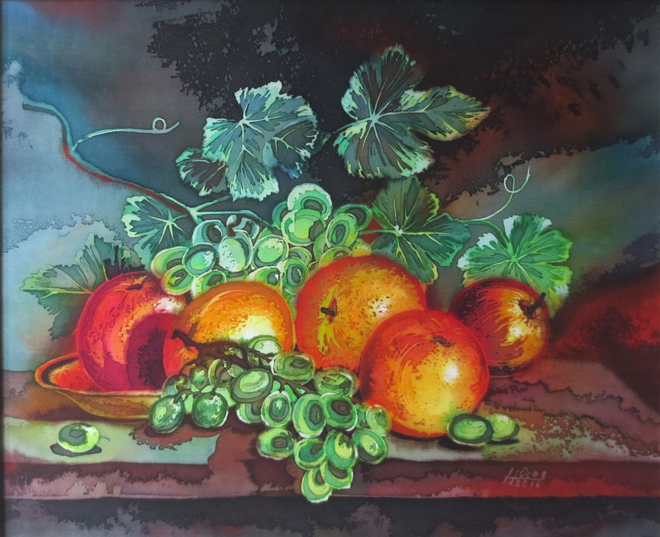Голландский натюрморт горячий батик, виноград батик, яблоки батик, натюрморт батик, картина натюрморт,