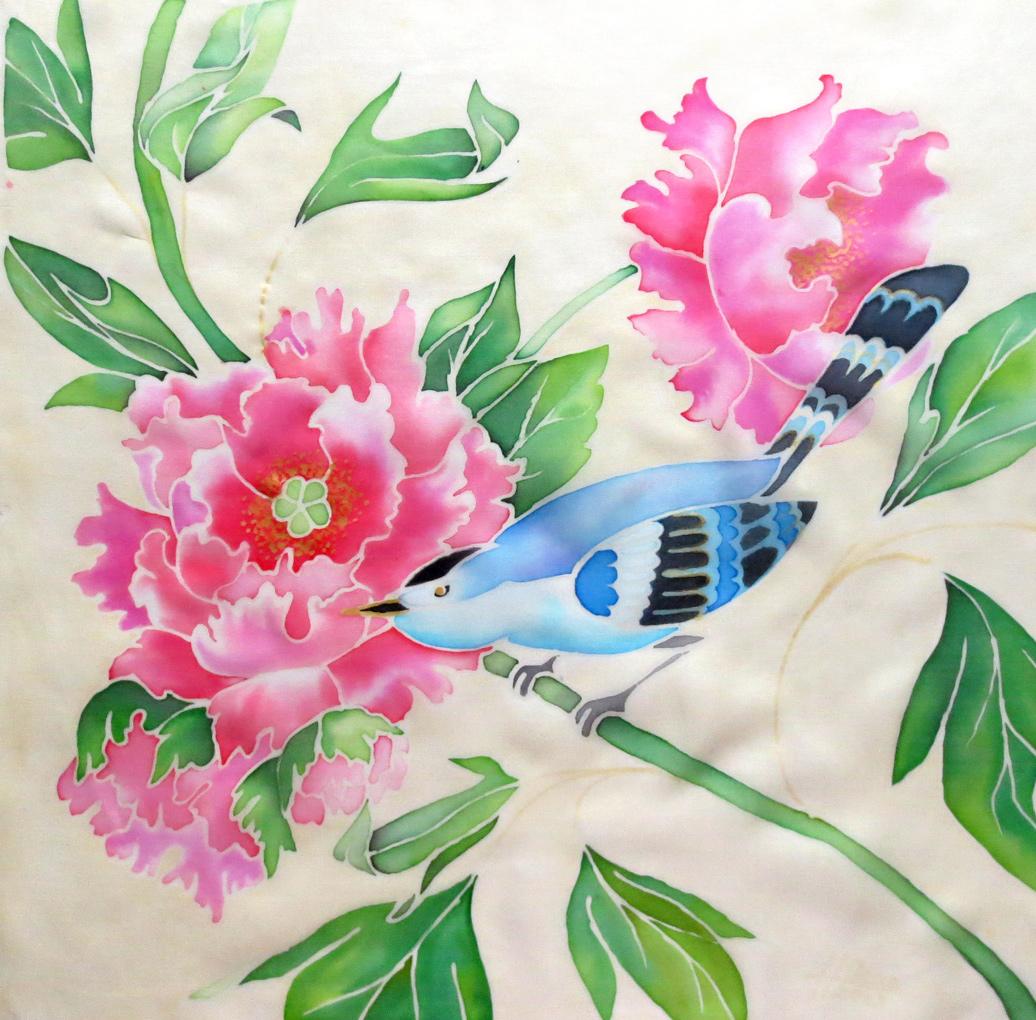 холодный батик голубая птица с розовыми цветами, картинка батик, картинка птица, картинка голубая птица, картинка батик цветы, картинка батик птица