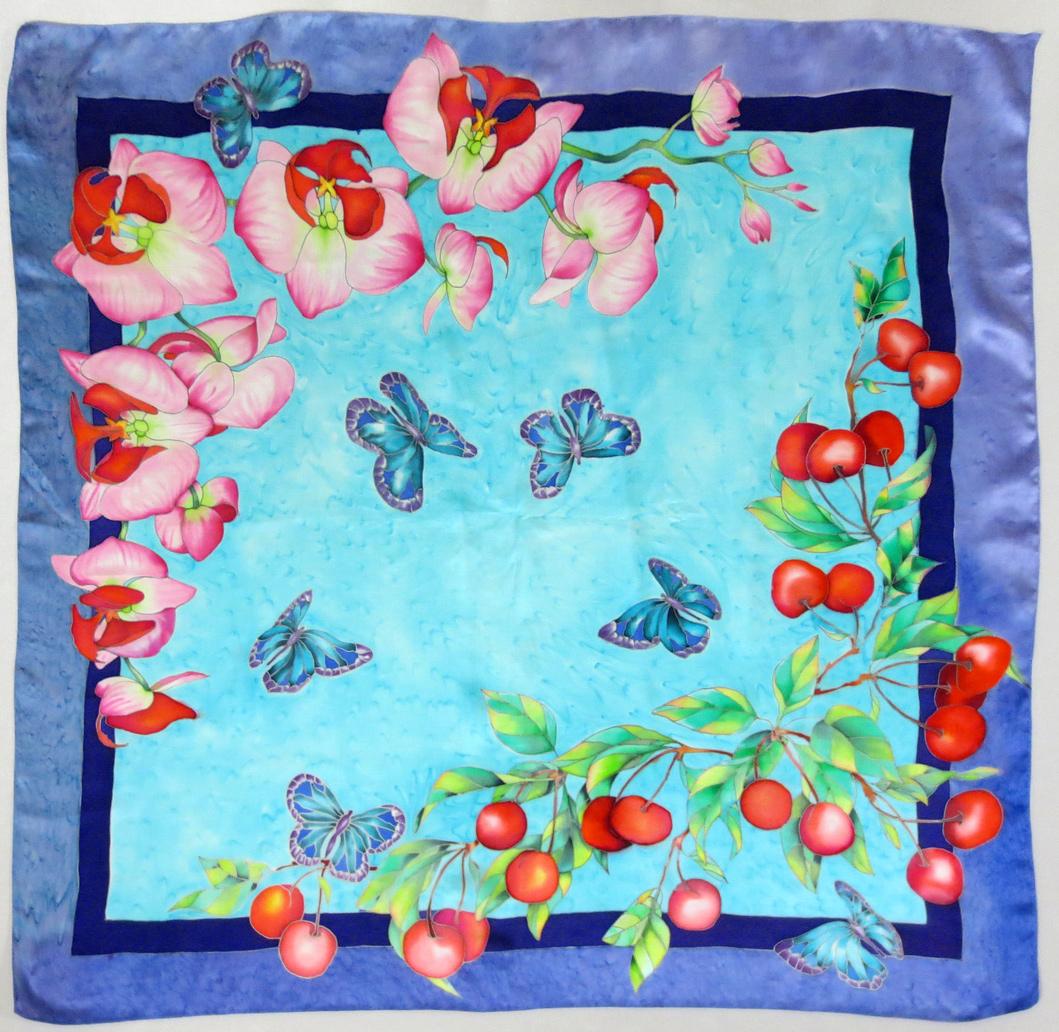 Вишни и орхидеи платок , Вишни и орхидеи холодный батик, батик вишня, орхидеи батик