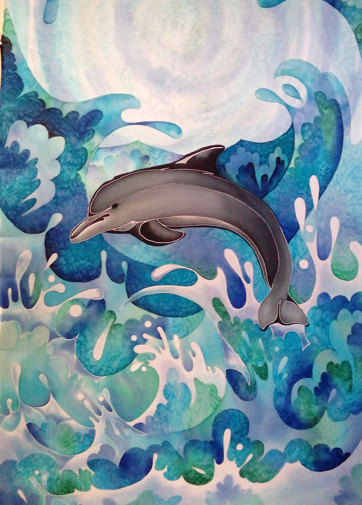 Дельфин холодный батик, шарф холодный батик, дельфин батик, море батик, волны батик,